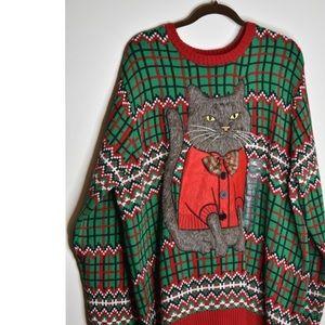 Arrogant Cat Ugly Christmas Sweater XXL